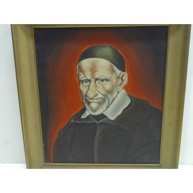 """Religious Circa 1940 """"St Vincent De Paul"""" Original Painting on Canvas For Sale - Image 3 of 5"""