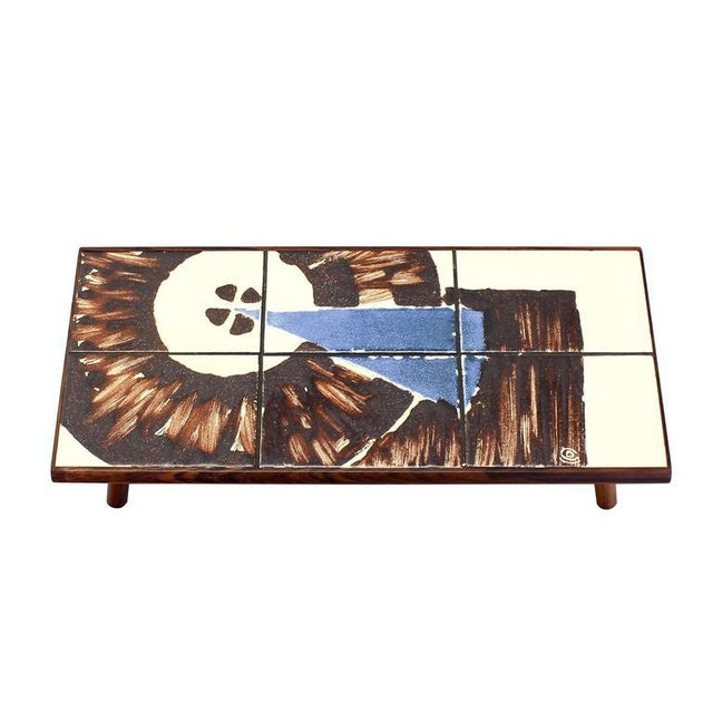 Mid 20th Century Mid-Century Modern Rosewood and Tile Top Folding Legs Serving Tray For Sale - Image 5 of 11