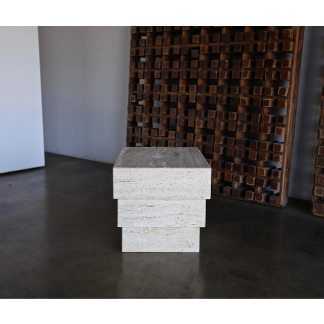 Late 20th Century Sculptural Modernist Travertine Side Table, Circa 1980 For Sale - Image 5 of 13