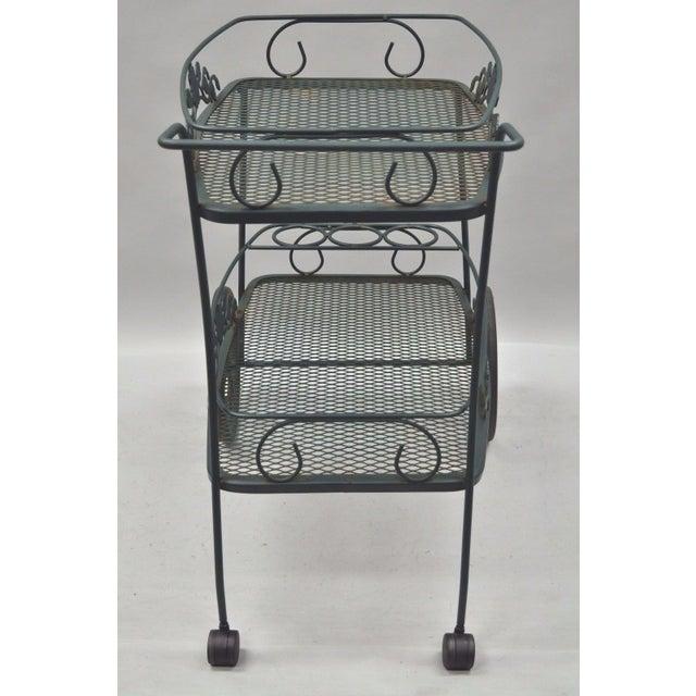 Meadowcraft Dogwood Green Wrought Iron Tea Cart Rolling Bar Server Patio Garden For Sale - Image 9 of 11