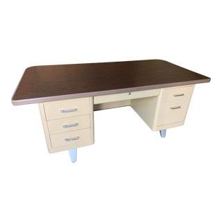Vintage Industrial Metal Tanker Desk For Sale
