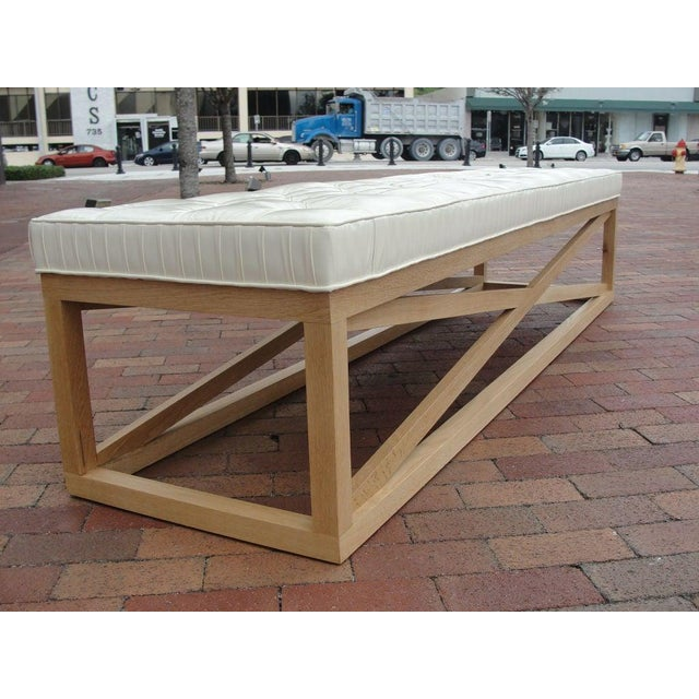 Late 20th Century Modern Extra-Long Tufted Bench For Sale - Image 5 of 8