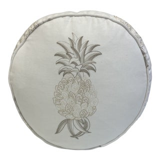 Travers Ananas Embroidery Round Pillow For Sale