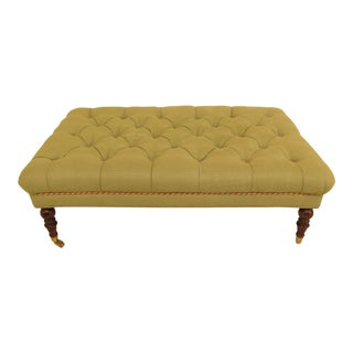 Tufted Green Upholstered Ottoman For Sale
