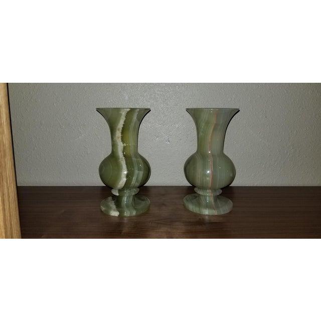 Vintage Mid Century Jade Marble Onyx Vases A Pair Chairish