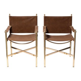 Vintage Mid Century Brass Campaign Style Chairs- A Pair For Sale