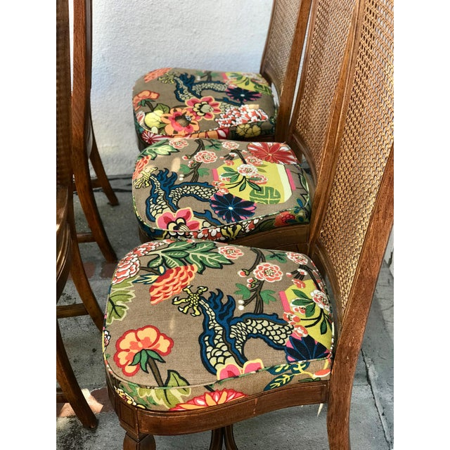 1970s Vintage Cane Back Dining Chairs- Set of 8 With Schumacher Fabric, Chiang-Mai Pattern For Sale In Los Angeles - Image 6 of 12