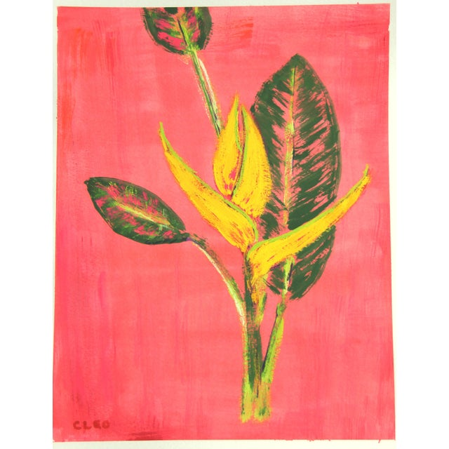 Apricot Chinoserie Botanic Tropical Leaves Painting by Cleo Plowden For Sale - Image 8 of 11