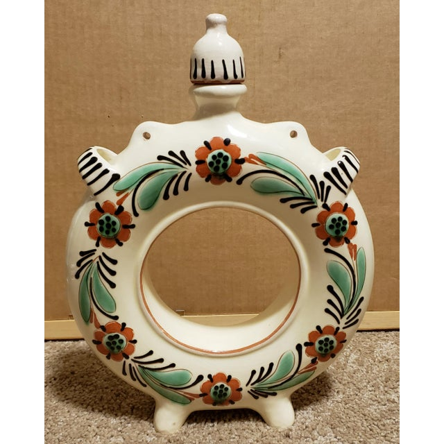 Ceramic Circa 1940 Hungarian Glazed Redware Pottery Round Ring Water Jug For Sale - Image 7 of 7