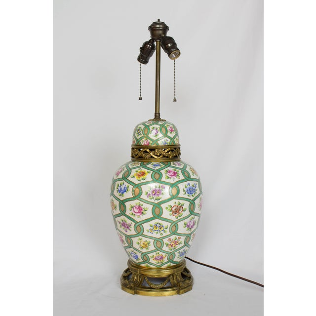 Restored Antique Green and White Chintz Table Lamp For Sale - Image 9 of 9