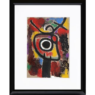 """Cartones 25: Personnage Et Oiseau"" Framed Lithograph by Joan Miro For Sale"