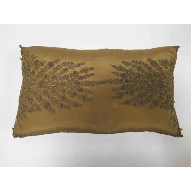 Mid Century Silk Throw Pillow Embroidered With Raised Metallic Embroidery For Sale - Image 9 of 9