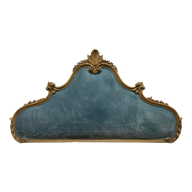 Hollywood Regency Rococo Carved Pine Queen Size Headboard For Sale
