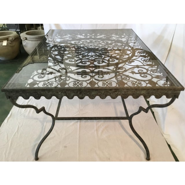 1940s French Provincial Iron Table With Glass Top For Sale - Image 4 of 13