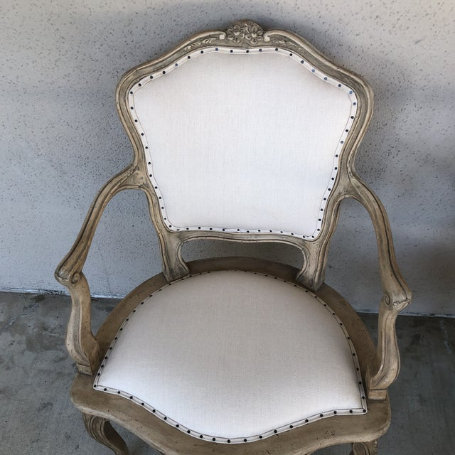 vintage linen upholstered french chairs a pair chairish