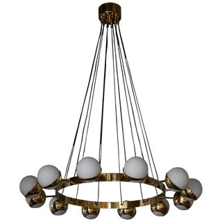 1 of 2 Huge Stilnovo Style Brass and Murano Glass Chandelier For Sale