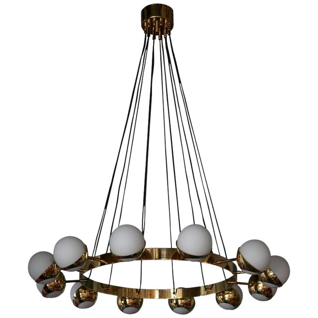 Huge Stilnovo Style Brass and Murano Glass Chandelier For Sale