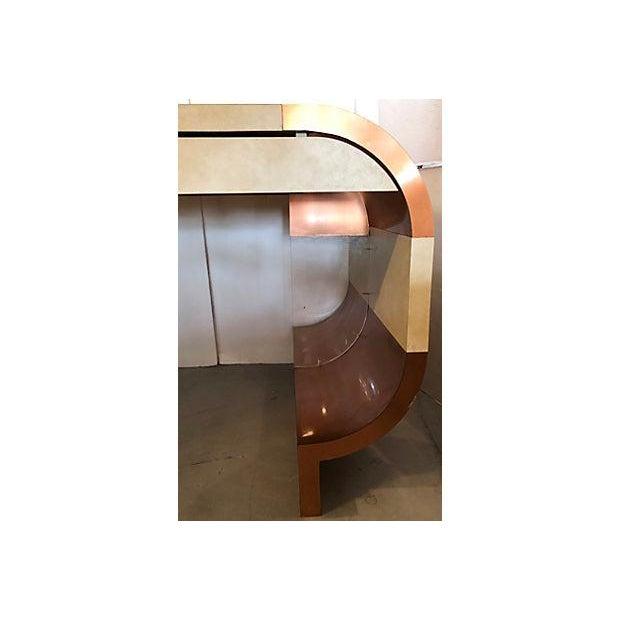 Copper Faux Leather And Copper 1970's Desk For Sale - Image 8 of 10