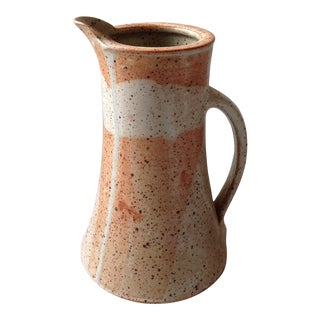 Rustic Modern Studio Pottery Raku Pitcher For Sale