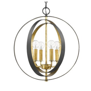 The Orbit 4 Light Chandelier, Forged Black and Gilded Gold For Sale
