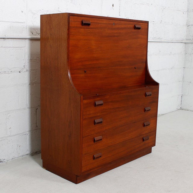Danish Modern Teak Drop Front Secretary / Desk - Image 3 of 7