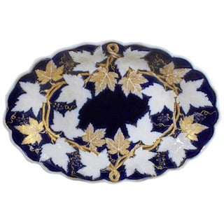 Early 20th Century Meissen Porcelain Cobalt and Gilt Oval Dish