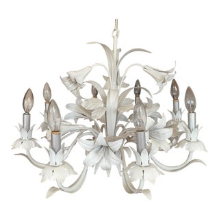 Vintage Italian Floral Tole Lily Chandelier For Sale