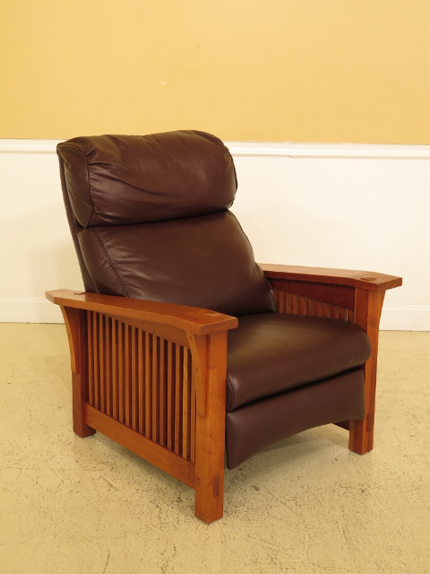 Stickley Mission Style Cherry U0026 Leather Reclining Morris Chair   Image 13  Of 13