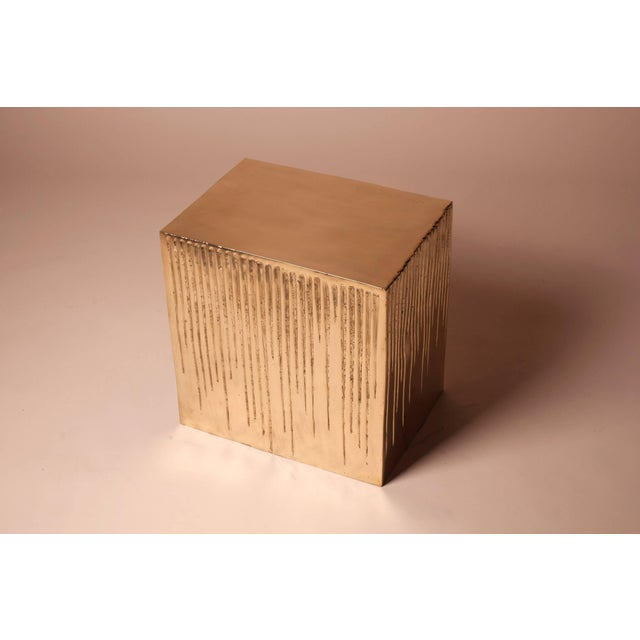 Hollywood Regency Hand Casted Polished Bronze Box Stool For Sale - Image 3 of 10
