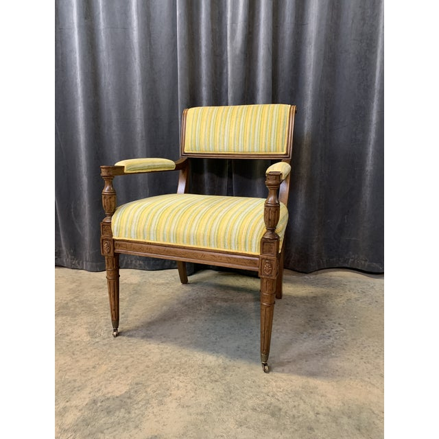 Mid-Century Walnut and Striped Upholstered Drexel Chair For Sale In Charlotte - Image 6 of 10