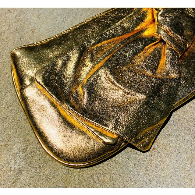 Lorelei Metallic Leather Gold Bow Clutch For Sale - Image 4 of 5