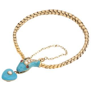 Antique Victorian Snake Bracelet 18 Karat Gold Blue Enamel Garnet Pearl Old For Sale