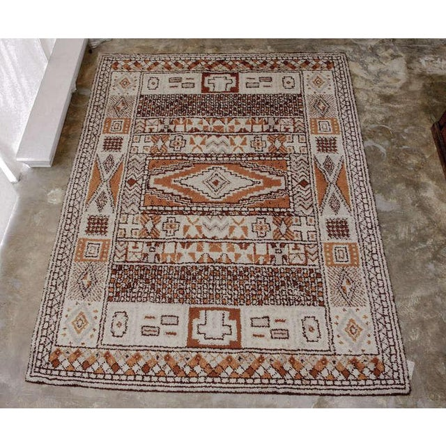 Portuguese wool rug in the Moroccan style. Excellent Vintage Condition.