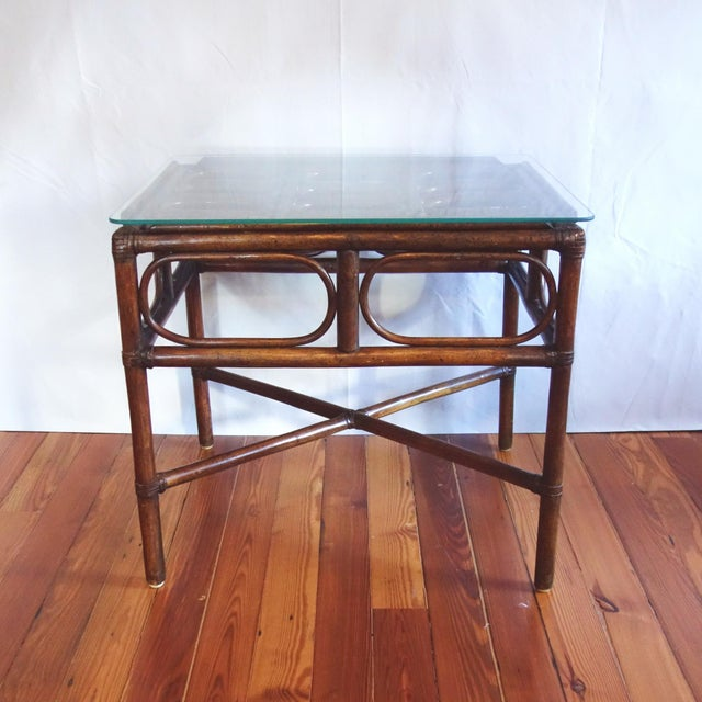 Asian Vintage Rattan Side Table With Glass Top For Sale - Image 3 of 6