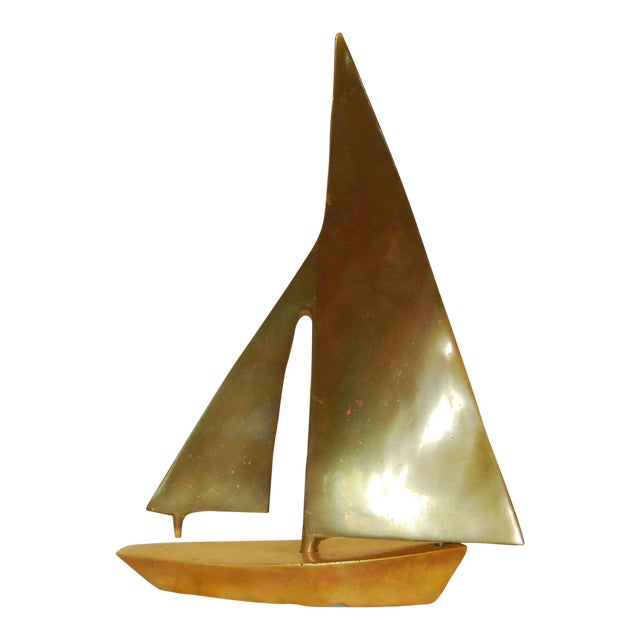 Vintage Heavy Brass Sailboat For Sale