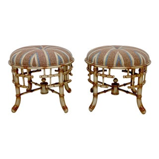Pair of Chinese Chippendale Style Faux Bamboo Ottomans For Sale