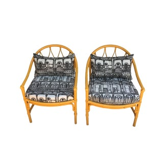1960s Vintage Lacquered Bamboo Rattan Chairs- A Pair For Sale