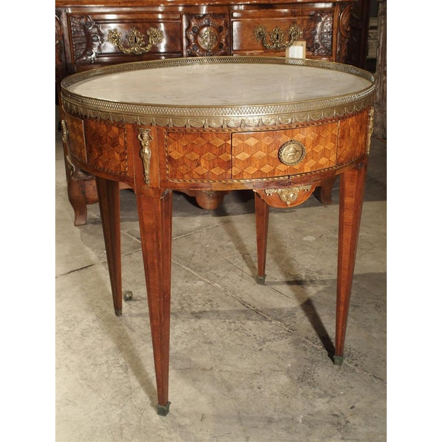19th Century French 4-Drawer Marble Top Bouillote Table For Sale - Image 10 of 13