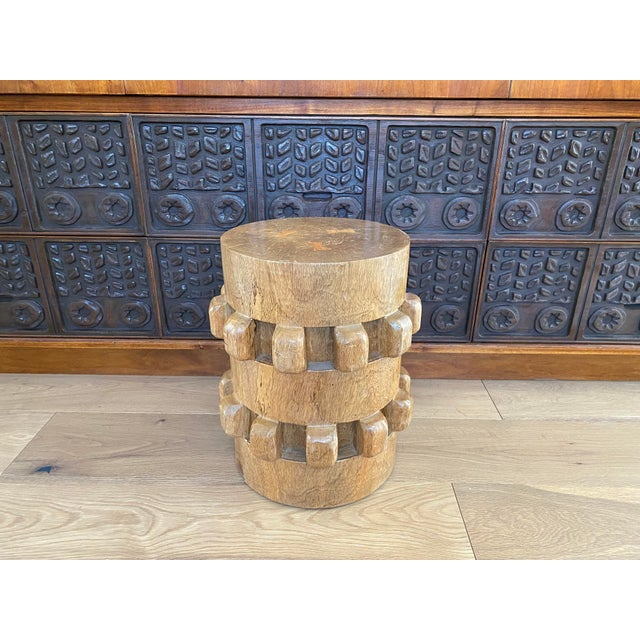 Vintage Hand-Carved Wooden Stool Side Table For Sale - Image 4 of 8