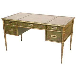 1980s English Regency Style Chinoiserie Decorated Tanker Desk