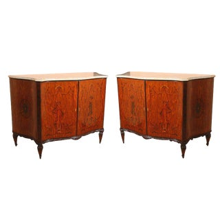 Edwardian Adams Style Marble-Top Cabinets - A Pair For Sale