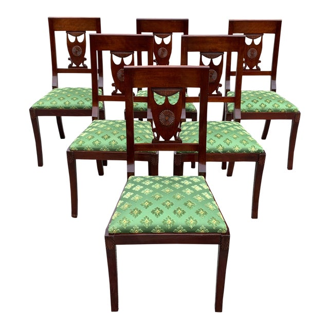 1910s French Empire Solid Mahogany Dining Chairs - Set of 6 For Sale