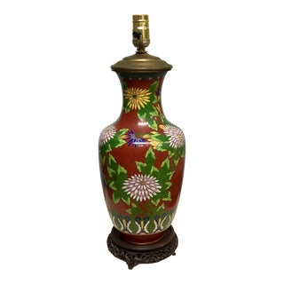 Urn Shaped Cloisonne Table Lamp For Sale