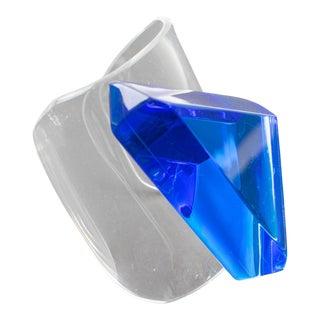 Harriet Bauknight Kaso Blue Lucite Oversized Cuff Bracelet For Sale