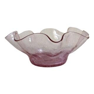 Vintage Blenko #3744x Ruffled Edge Rose Colored Bowl For Sale