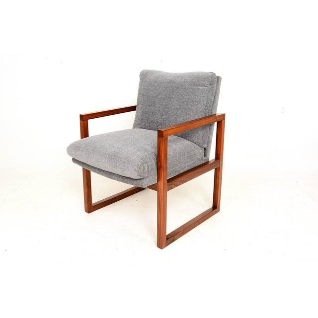 Gray Pair of Mid-Century Modern Walnut Armchairs For Sale - Image 8 of 9