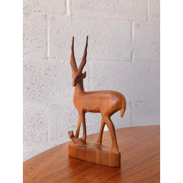 Mid-Century Modern Vintage Mid Century Modern Hand Carved Wood Antelope Sculpture For Sale - Image 3 of 8