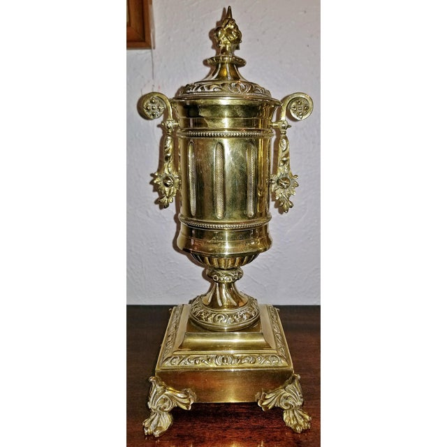Gold Pair of 19c French Neoclassical Style Brass Garnitures For Sale - Image 8 of 13