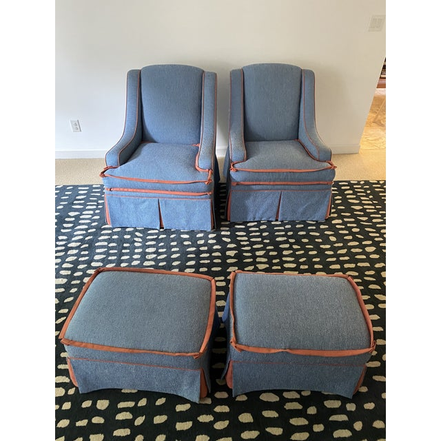 Custom Made Large Swivel Chairs With Ottomans - 4 Pieces For Sale - Image 9 of 13