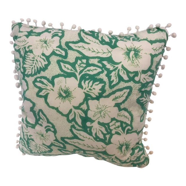 Balinese Green and White Pillow - Image 1 of 3